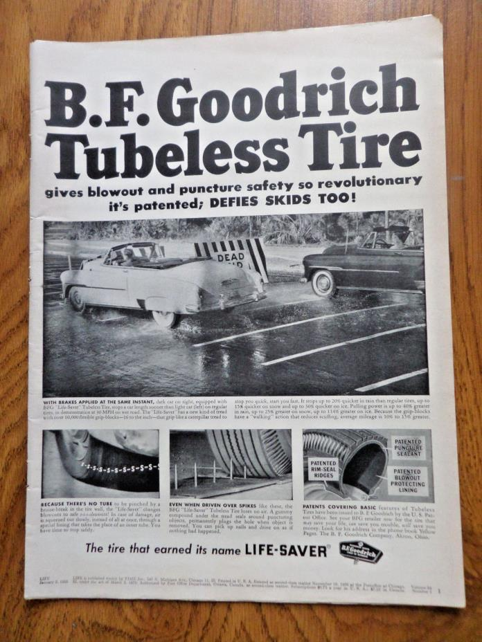 1953 B F Goodrich Tires Ad Tubeless Convertible Chevy Ford Plymouth ?