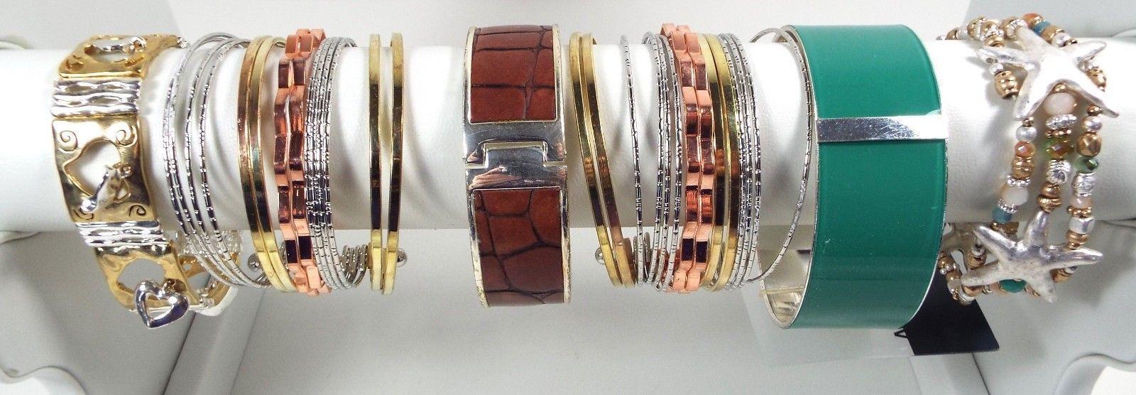 Vintage Modern Metal Bracelet Lot Bangles Cuffs Starfish Beaded Stretch