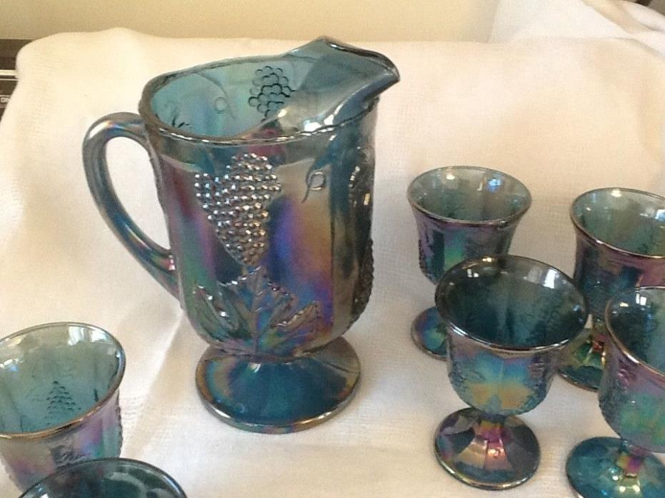 Blue Carnival Glass Pitcher 7 goblets  Harvest Grape & Leaf Indiana Glass Co