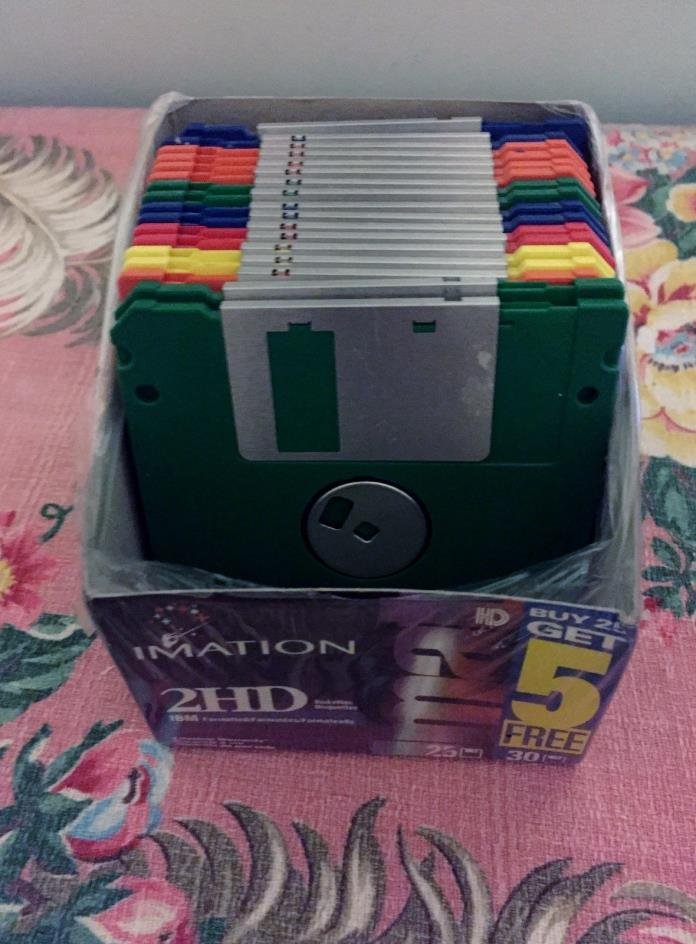 17 Floppy Diskettes IBM Formatted Imation Neon Colors 3.5