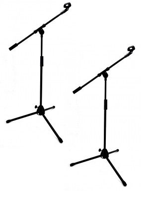 Set of 2 SINGLE BOOM ARM MICROPHONE STANDS Adjustable 7' Mic Clip Tripod Base
