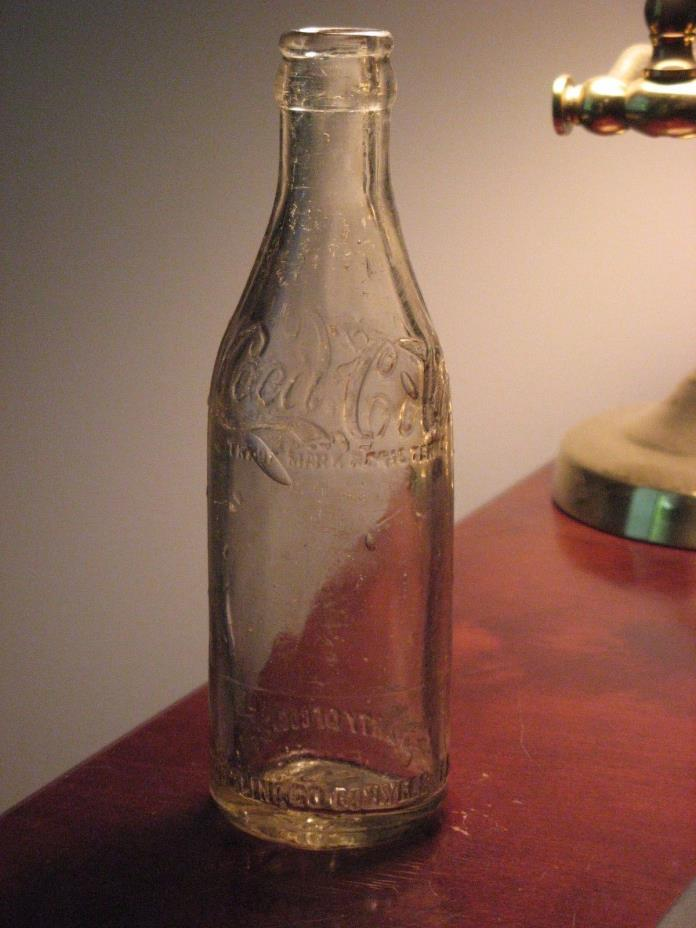 Early Coca-Cola Bottle, Conyers, Georgia, 6 oz., Straight Sided Clear Glass 1908