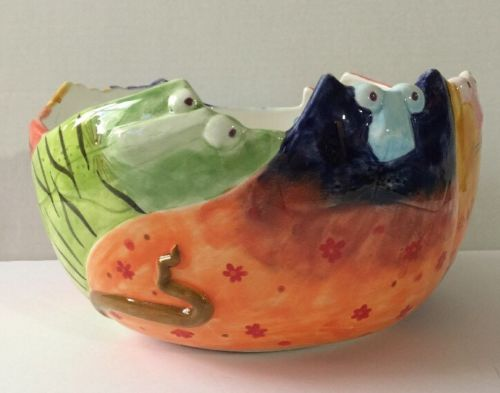 Decoration Serving Bowl Dish Large Ceramic Multicolored Cats Kittens
