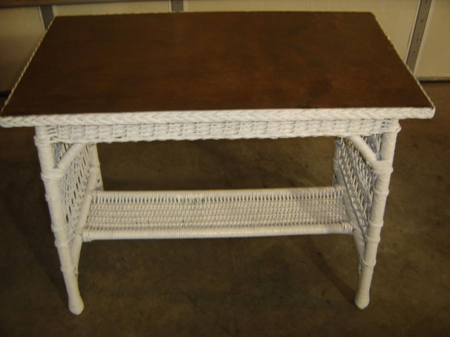 Antique White Wicker Table w/ Quarter-sawn Oak Top  9239