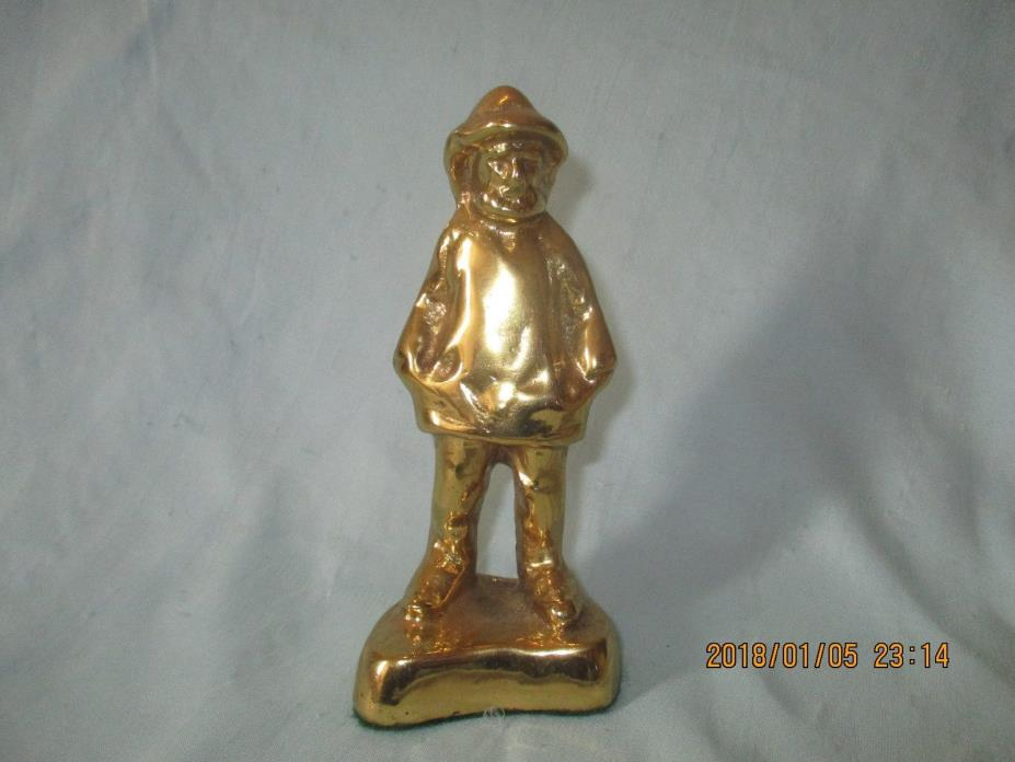 Vintage Solid Brass Fisherman Figurine NAUTICAL STATUE SEAMAN PAPERWEIGHT MAN