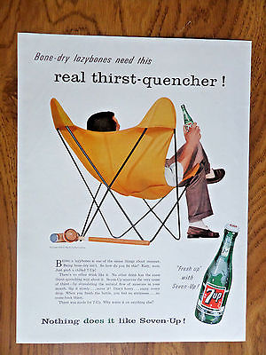 1956 7up Soda Pop Bottle Ad  Relaxing after a game of Croquet