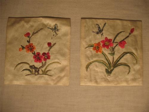 2 BEAUTIFUL CHINESE EMBROIDERED SILK SQUARE PANELS EMBROIDERY FLOWERS BUTTERFLY!