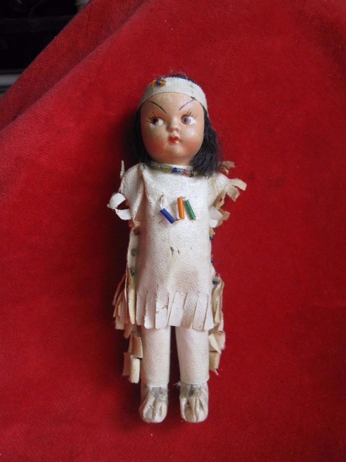 Antique composition Native American Indian Leather Outfix Doll