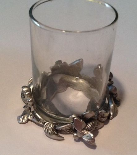 Etain Zinn  Pewter 1992 Seagull Canada Votive Candle Holder Bumblebee Flowers