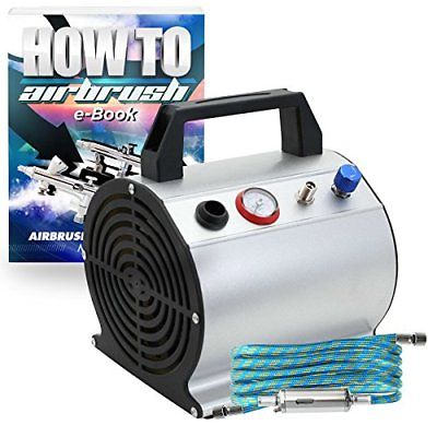PointZero 1/6 HP Airbrush Compressor Small Portable Quiet Hobby Oil-less Air &