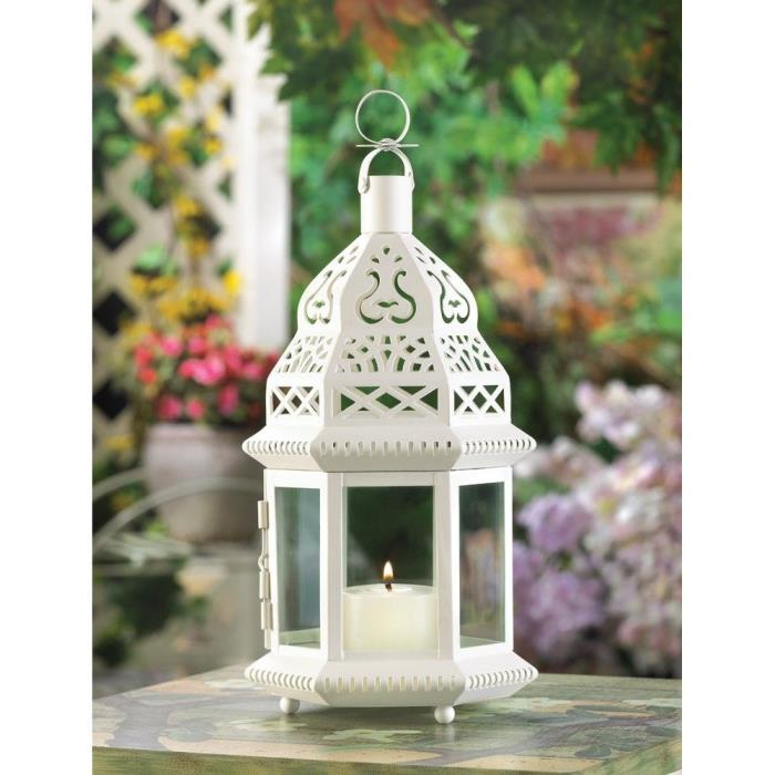 8-White Metal and Clear Glass Moroccan Style Wedding Candle Lamp
