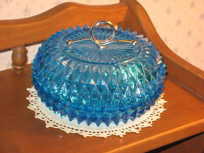 Blue Sandwich Glass Covered Glass Dish w/ Handle