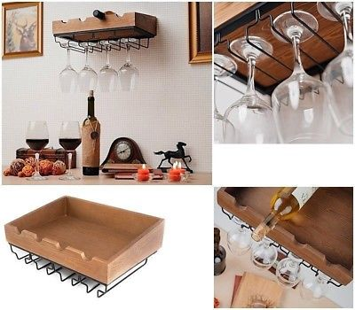 Wine Glass Storage Rack Shelf Bottles Holder Wall Mounted Wood Bar Hanging Stem