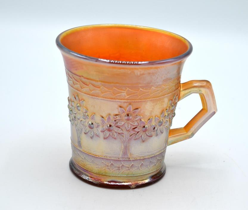 Vintage Fenton Lavender Carnival Glass Mug - Orange Tree Pattern