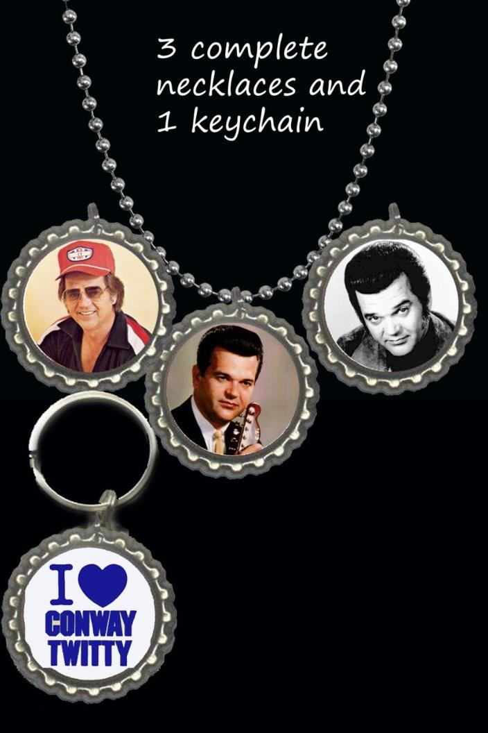 Conway twitty 3 piece necklace set + 1 keychain lot great gift  country rock fan
