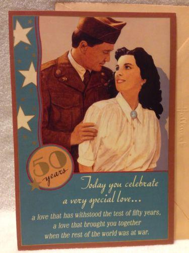 1990's Hallmark 50th Anniversary Card w/envelope - Greatest Generation - Vintage