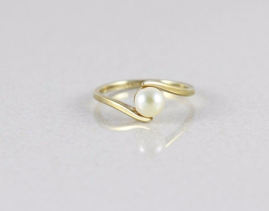 14k Yellow Gold Pearl Ring Size 8 Wave Design