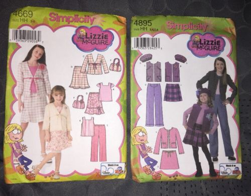LOT of 2 LIZZIE McGUIRE SEWING PATTERN 4669&4895 ALL UNCUT Size HH GIRLS 3,4,5,6