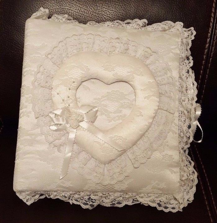 Wedding Photo Album White Heart Lace Fabric Anniversary Gift Picture Photography