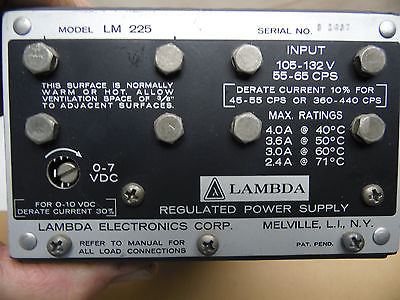 LAMBDA POWER SUPPLY MODEL LM-225 FOR OLD SCHOOL ELECTRONICS