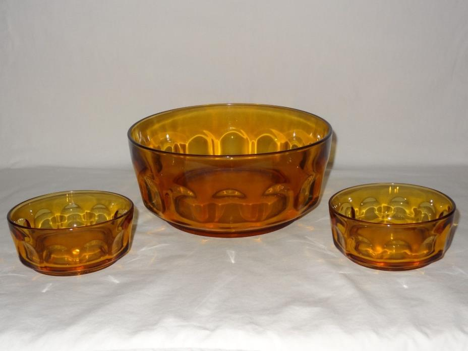 Arcoroc France Cristal D' Arques-Durand Petale-Amber Thumbprint Serving Bowl + 2