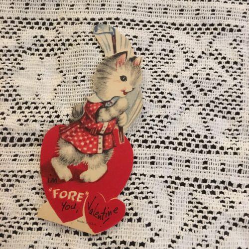 Vintage Greeting Card Valentine Cat Kitten Golfing