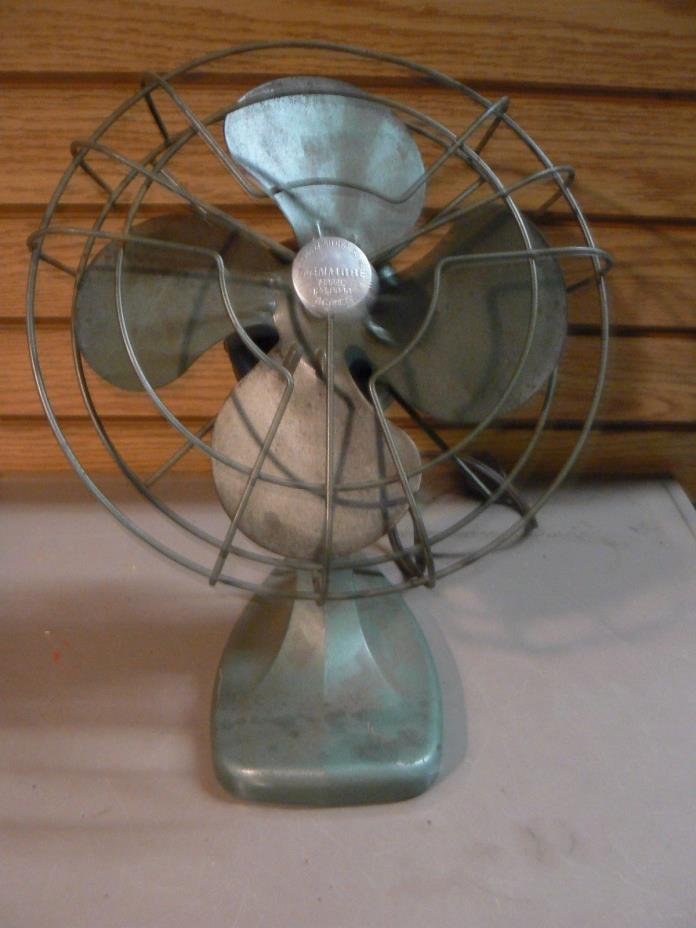 Vintage Kenmore Green Desktop Fan 124.8040 Industrial Steampunk Metal Works