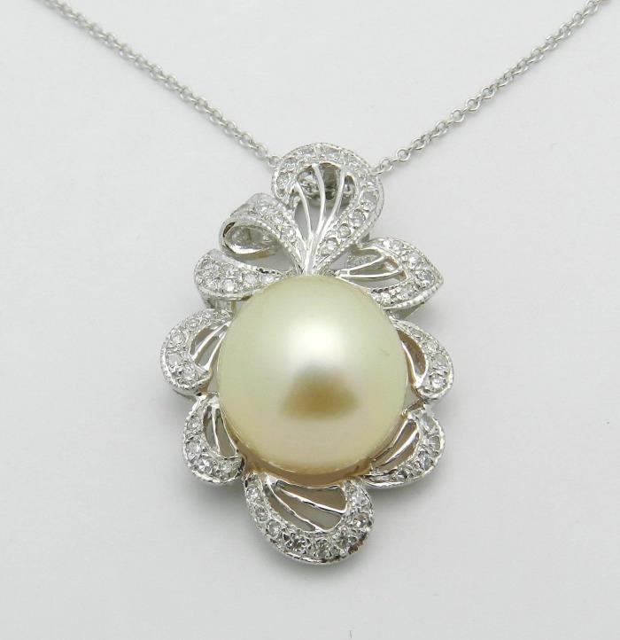 18K White Gold Diamond 12.5 mm Golden South Sea Pearl Necklace Pendant Chain 18