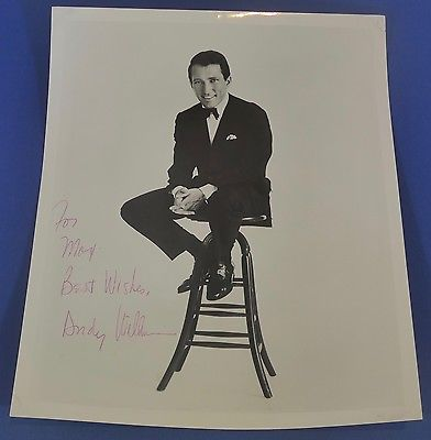 ANDY WILLIAMS deceased 2012 signed autographed 8 x 10 singer