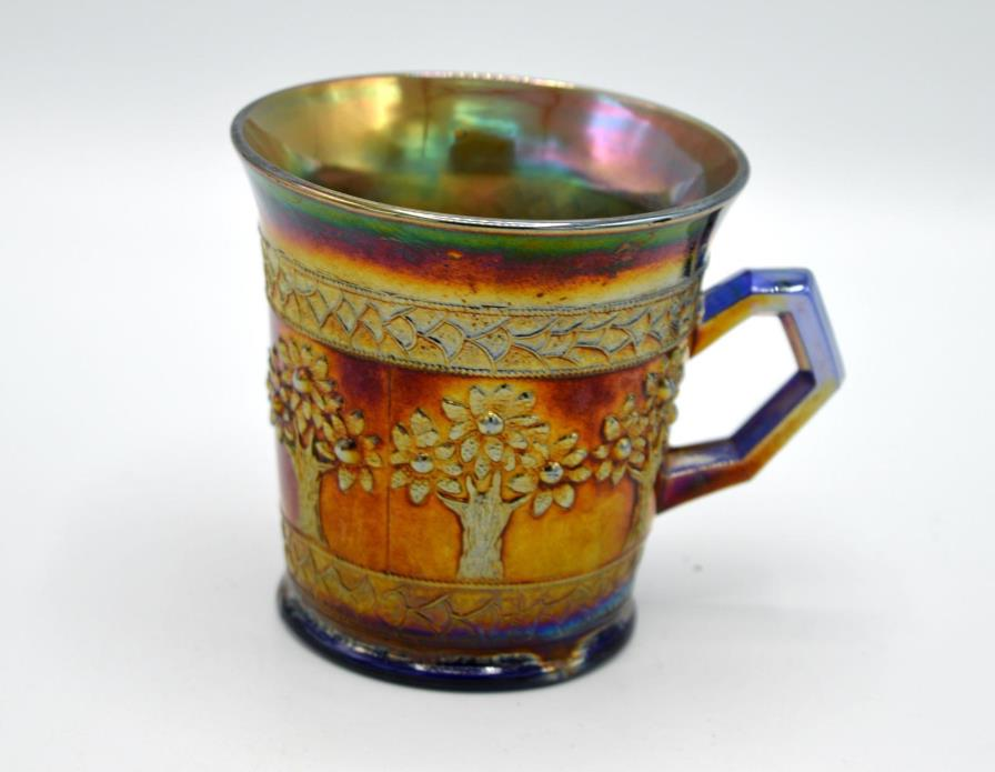 Vintage Fenton Blue Carnival Glass Mug - Orange Tree Pattern #2
