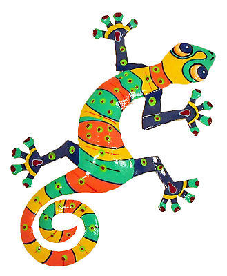 Hand Crafted Tropical Gecko Decor Haitian Metal Striped Lime