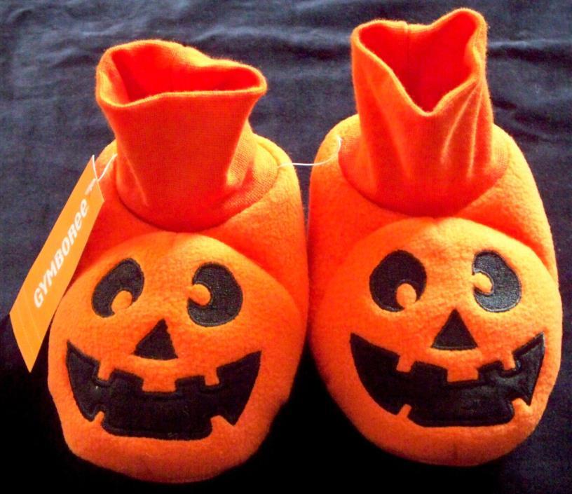 Gymboree Orange Pumpkin Jack-O-Lantern Toddler Slippers Sz 9-10 Textured Bottom
