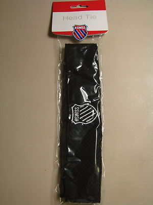NWT UNISEX K-SWISS HEAD BAND BLACK K-SWISS LOGO IN ORIGINAL PACKAGE