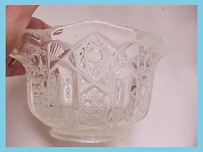 vintage eapg glass quilt pattern serving bowl dish