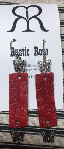 Handmade Leather Dangle Wire Earring- Red Butterfly And Flowers