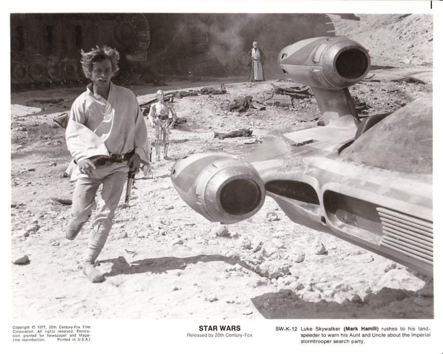 MARK HAMILL ALEC GUINESS C-3PO Robot Original Vintage 1977 STAR WARS SciFi Photo