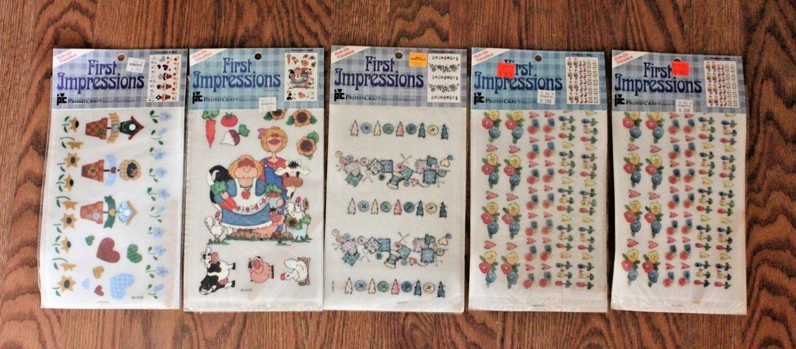 Provo Craft First Impressions Rub On Transfers Flowers Hearts Funny Farm Family