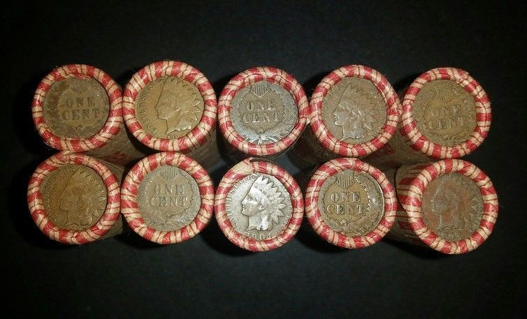 10 SEALED UNSEARCHED PENNY ROLLS - 500 WHEAT PENNIES & INDIAN HEAD CENTS AE2