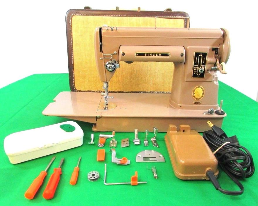 Vintage Singer Sewing Machine  Model 301A Long Bed, Pedal, Case and More