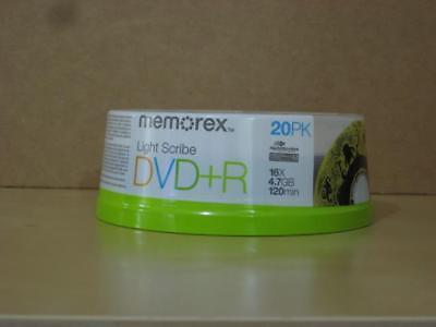 Memorex LightScribe Recordable DVD+R disc 20-pack 16x 4.7GB v1.2 *New Sealed*