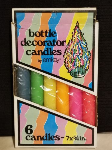 NEW 6 NEON RAINBOW BOTTLE DECORATOR DRIP CANDLES GENIE BOTTLE DECANTER EMKAY