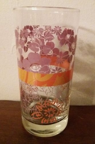 8~Vintage Libbey Purple/Orange Floral Tumblers Drinking Glasses