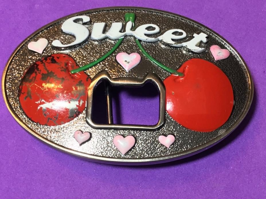 Sweet cherry's and pink hearts bottle opener and belt buckle