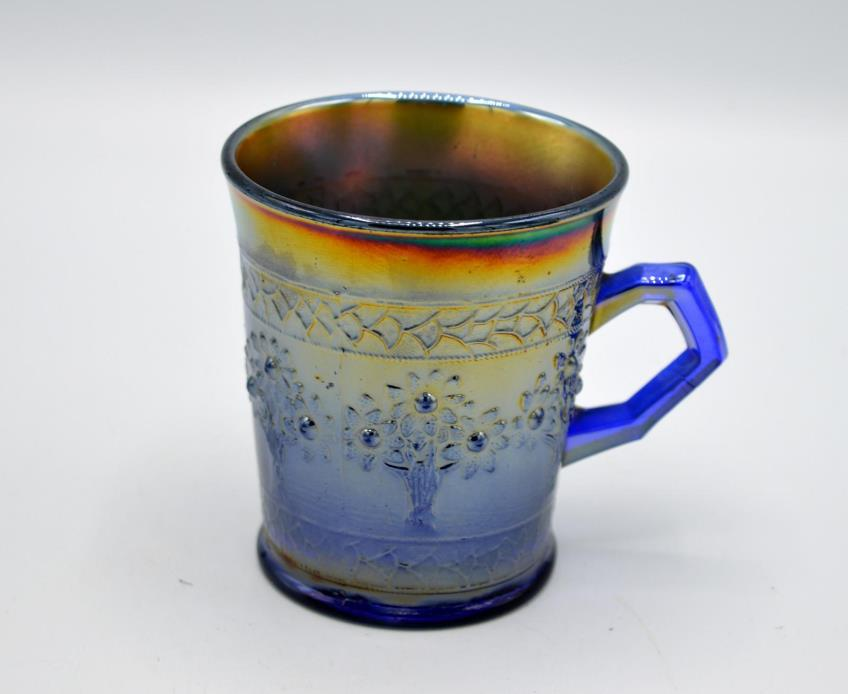 Vintage Fenton Blue Carnival Glass Mug - Orange Tree Pattern #1