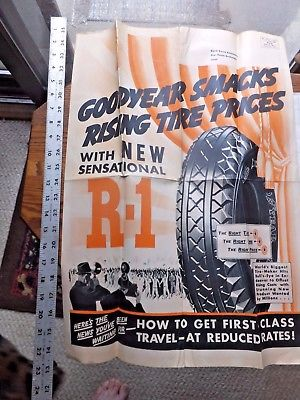ca. 1930's Large Mailer Advertisement. Goodyear Tires. 22 x 31 inches.