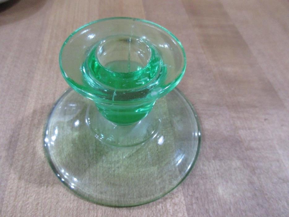 Vintage Green Depression Glass Candlestick Holder