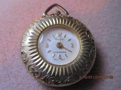 Vtg LUCERNE Swiss Made Wind Up Pocket / Pendant Ladies Watch Ornate Case WORKS