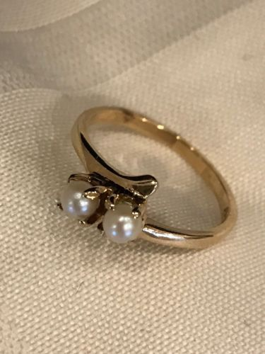 ^ 10K YELLOW GOLD With 2 Cultured PEARL RING 10KT VINTAGE ESTATE Sale
