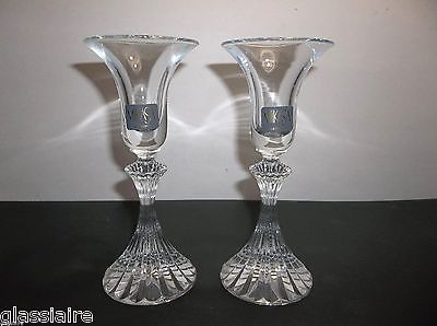 Mikasa Crystal Candle Holders RITZ Set Of 2 Original Tags GERMANY 6.25