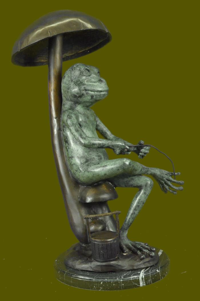 Huge Sale Limited Edition Frog Fishing Bronze Sculpture Marble FigurineSB